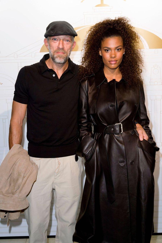Vincent Cassel et Tina Kunakey aux 70 ans de la maison Longchamp à Paris en septembre 2018