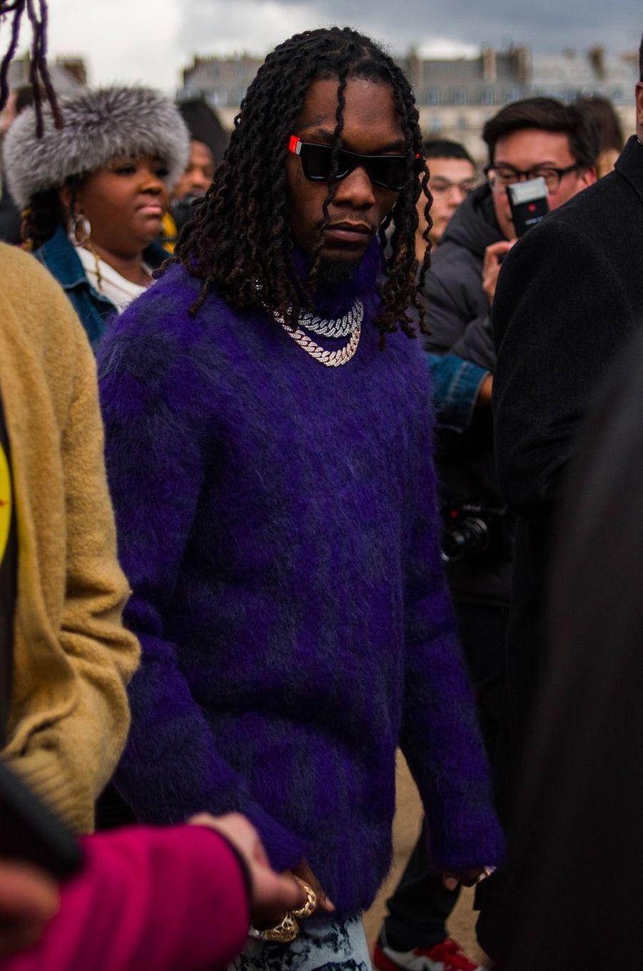 Offset à la présentation de la collection homme automne-hiver 2019 à Paris, jeudi 17 janvier