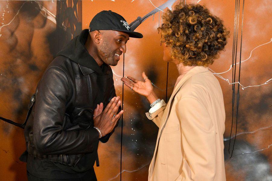 Naomi Campbell avec Virgil Abloh, pour la présentation de la collection homme automne-hiver 2019 à Paris, jeudi 17 janvier
