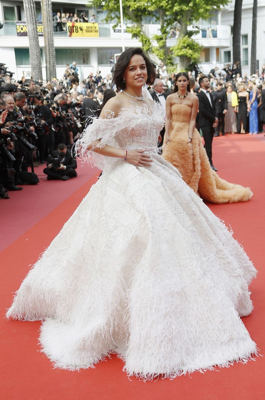 Michelle Rodriguez lors de la montée des marches du film «Once Upon A Time In Hollywood» à Cannes le 21 mai 2019