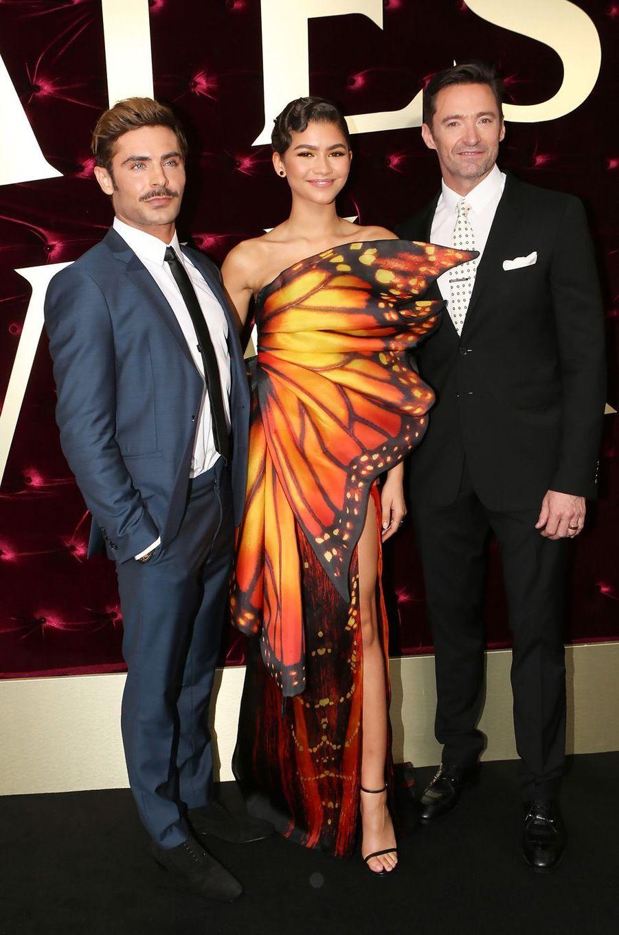 """Zac Efron, Zendaya et Hugh Jackman à l'avant-première de """"The Greatest Showman"""", le 20 décembre 2017 à Sydney."""