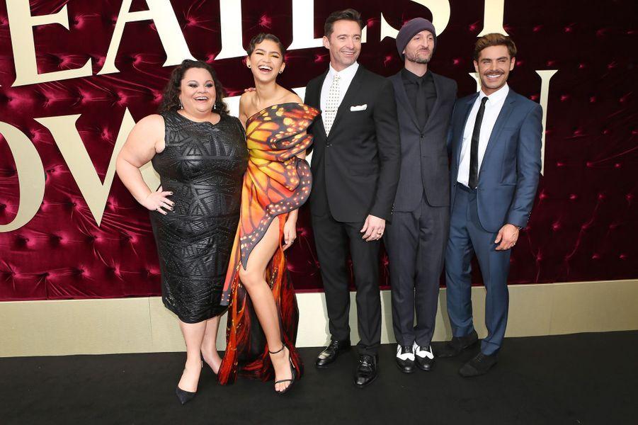 """Keala Settle, Zac Efron, Zendaya, Michael Gracey et Hugh Jackman à l'avant-première de """"The Greatest Showman"""", le 20 décembre 2017 à Sydney."""