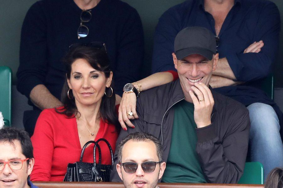 Zinédine Zidane en famille lors de la finale de Roland Garros, le 10 juin 2018.