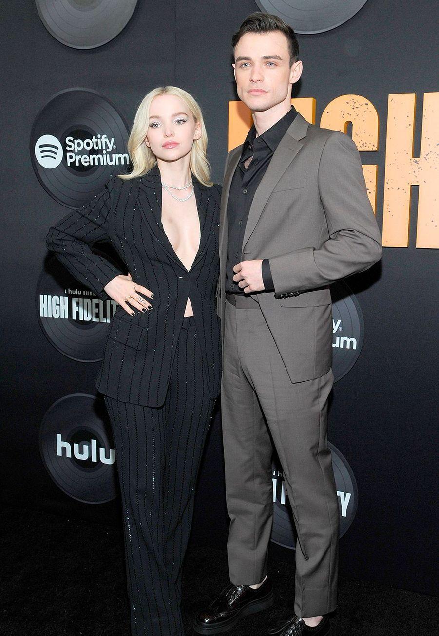 """Dove Cameron et Thomas Dohertylors dela première de""""High Fidelity"""" à New York le 13 février 2020."""