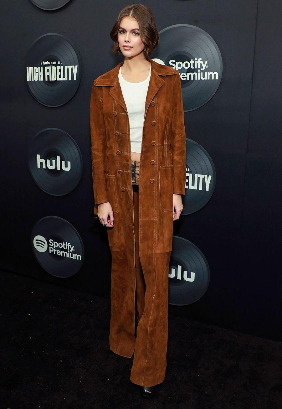 """Kaia Gerberlors dela première de""""High Fidelity"""" à New York le 13 février 2020."""