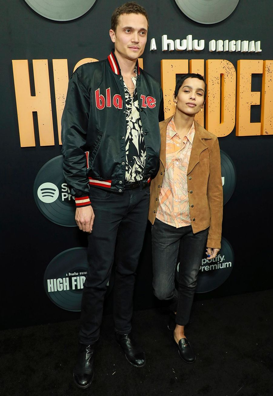 """Zoë Kravitz et son mari Karl Glusmanlors dela première de""""High Fidelity"""" à New York le 13 février 2020."""