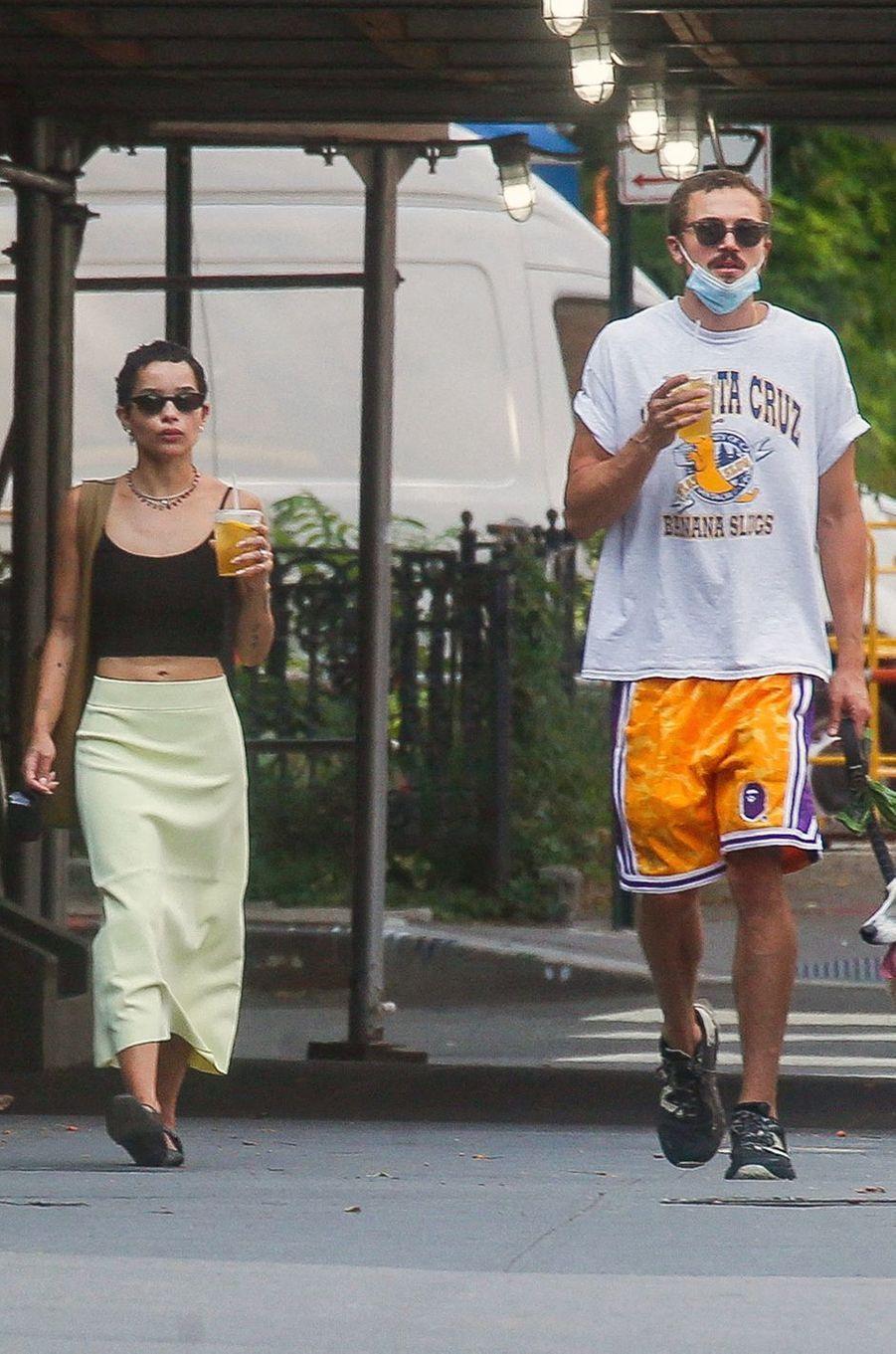 Zoë Kravitz et Karl Glusman à New York en août 2020