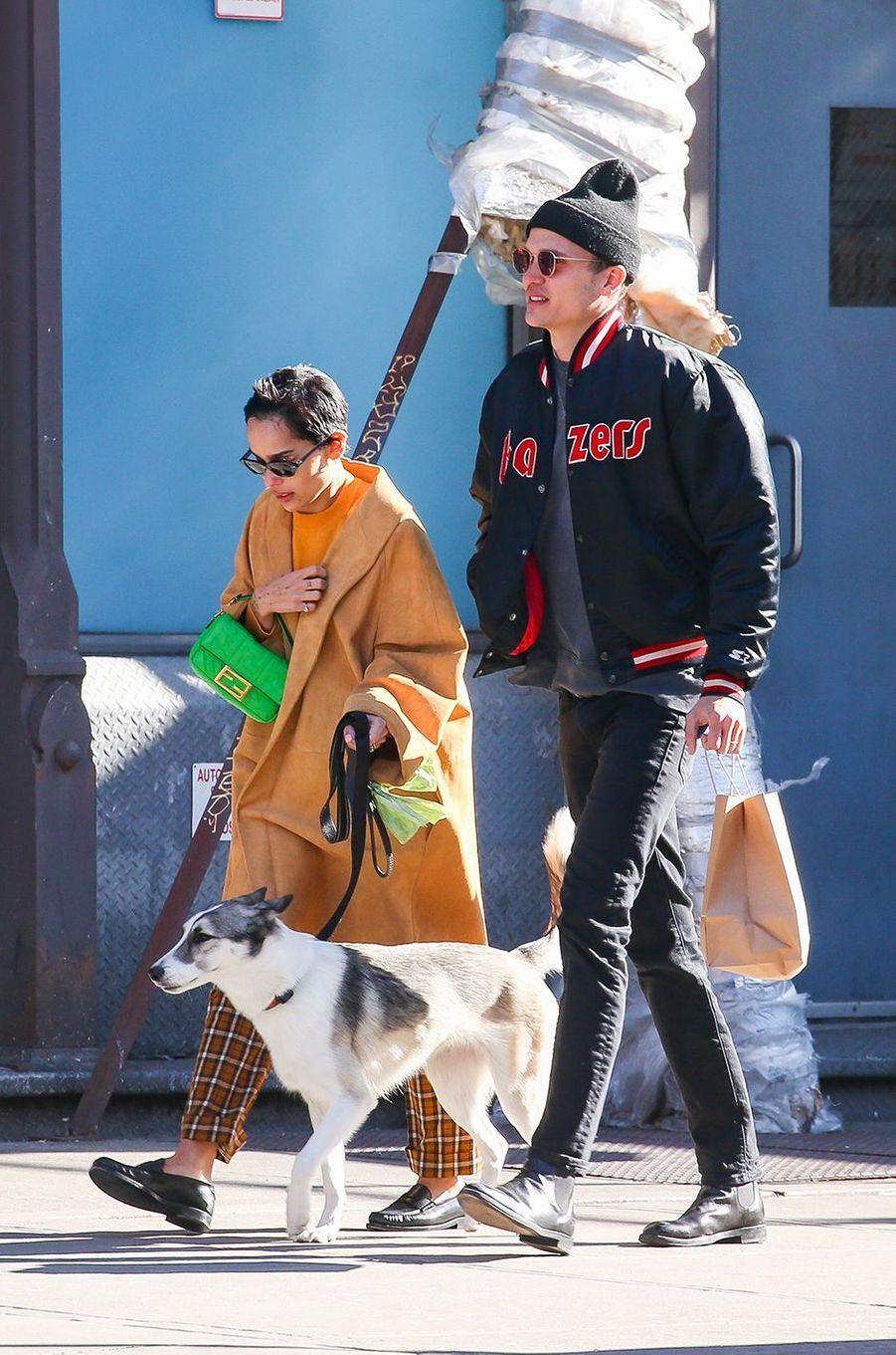 Zoë Kravitz et son mari Karl Glusman à New York le 14 février 2020
