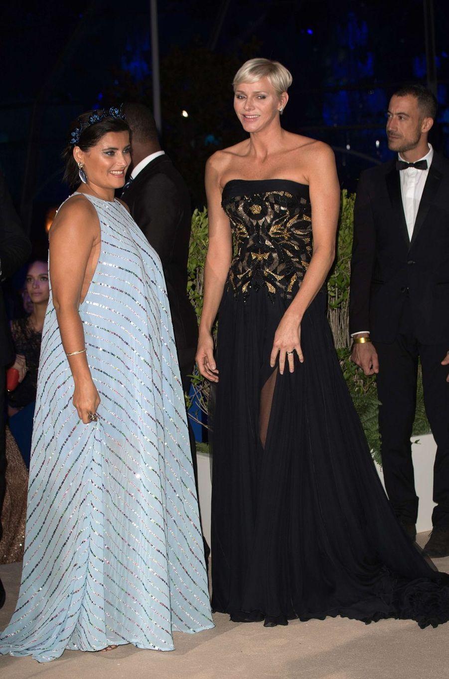 La princesse Charlène de Monaco avec Nelly Furtado à Monaco, le 28 septembre 2017