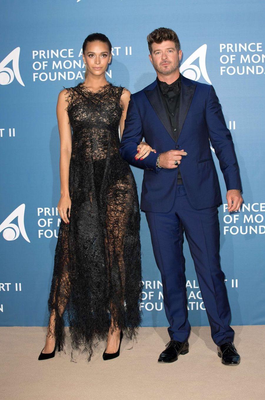 Robin Thicke et April Love au Monte-Carlo Gala pour l'Océan à Monaco, le 28 septembre 2017