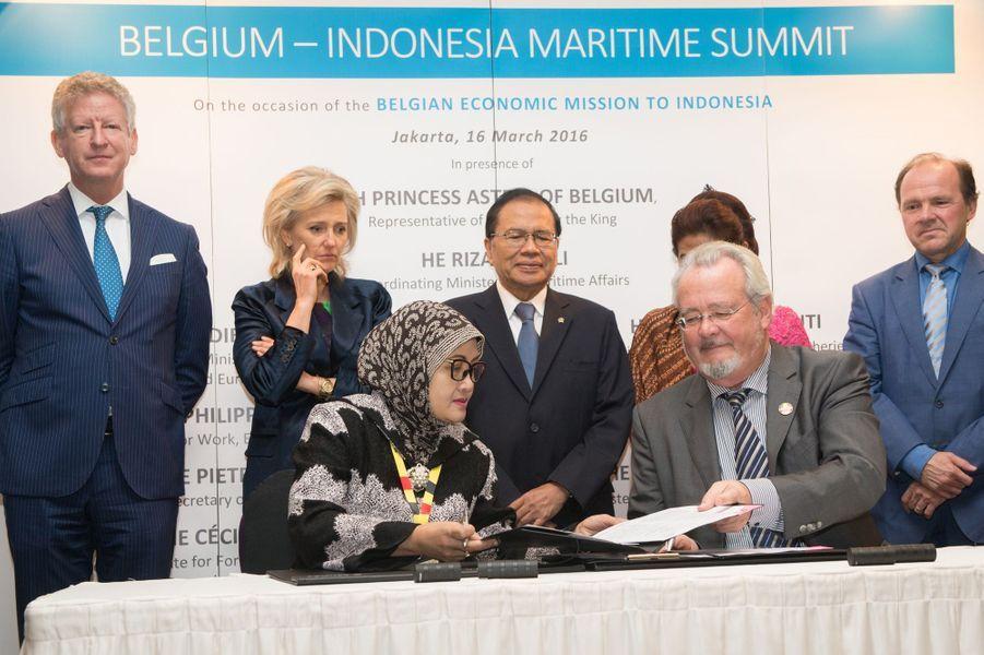 La princesse Astrid de Belgique à Djakarta, le 16 mars 2016