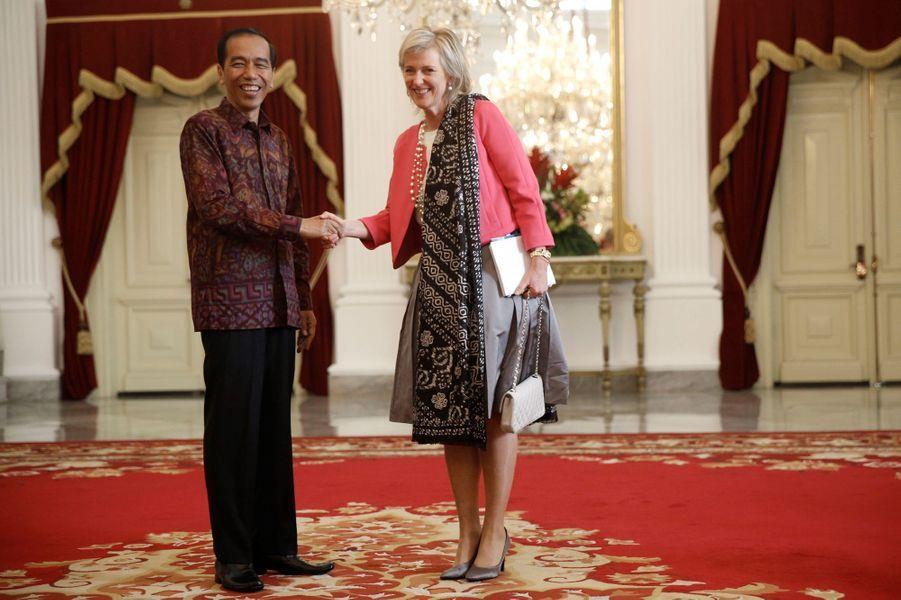 La princesse Astrid de Belgique avec le président de l'Indonésie à Jakarta, le 15 mars 2016