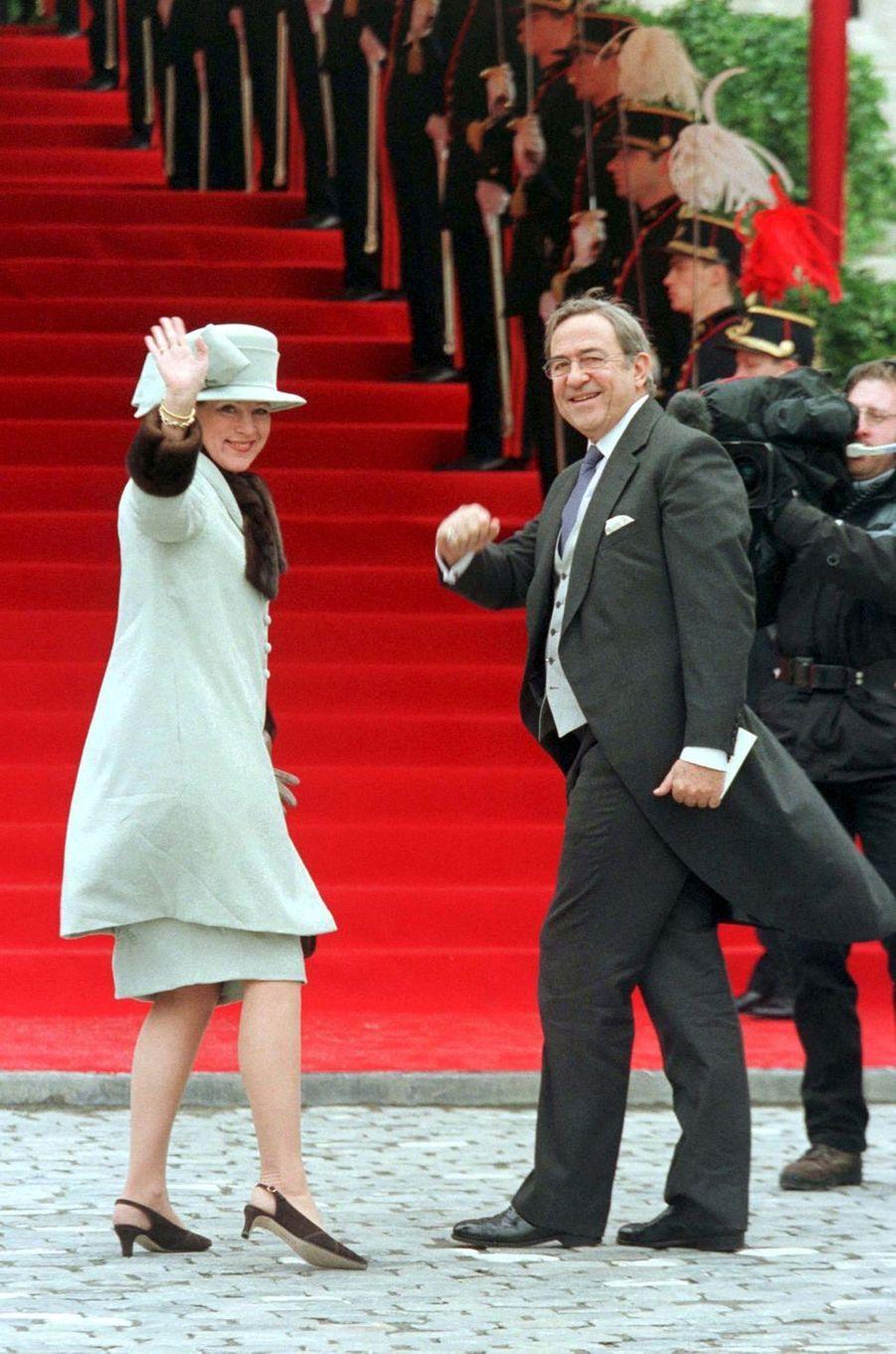 L'ex-reine Anne-Marie et l'ex-roi Constantin II de Grèce, à Bruxelles le 4 décembre 1999