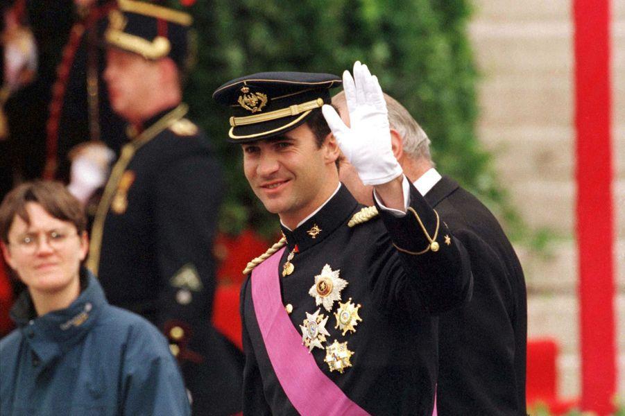 Le prince Felipe d'Espagne, à Bruxelles le 4 décembre 1999