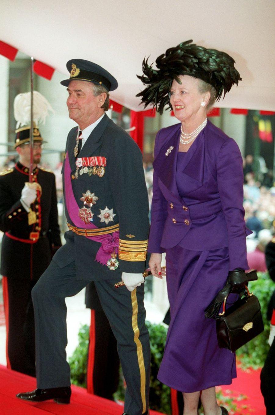 La reine Margrethe II de Danemark et le prince consort Henrik, à Bruxelles le 4 décembre 1999