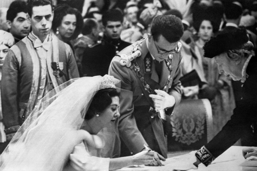 Mariage civil du roi des Belges Baudouin et de Fabiola de Mora y Aragon, à Bruxelles 15 décembre 1960