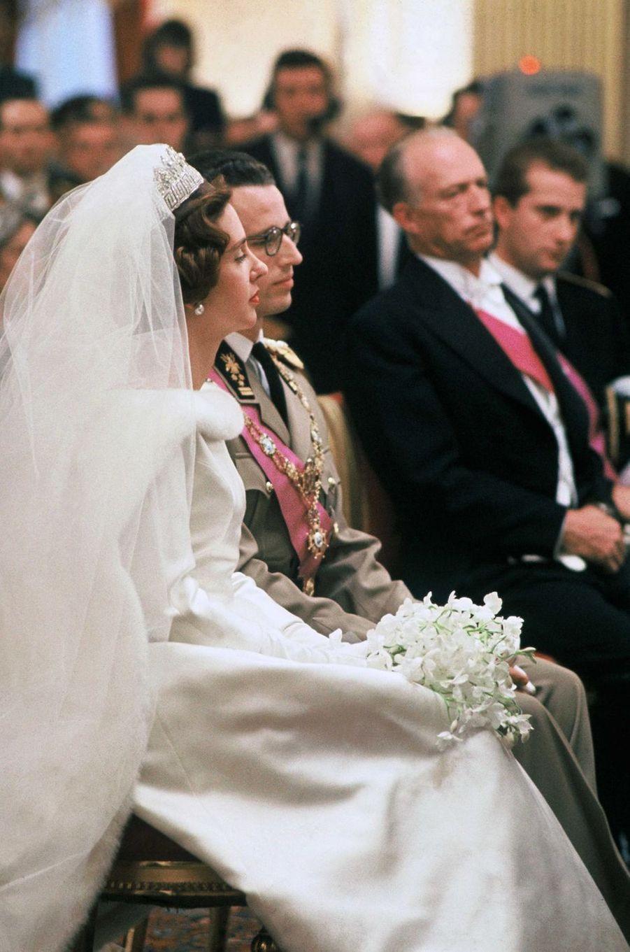 Le roi des Belges Baudouin et Fabiola de Mora y Aragon, lors de leur mariage civil à Bruxelles, 15 décembre 1960
