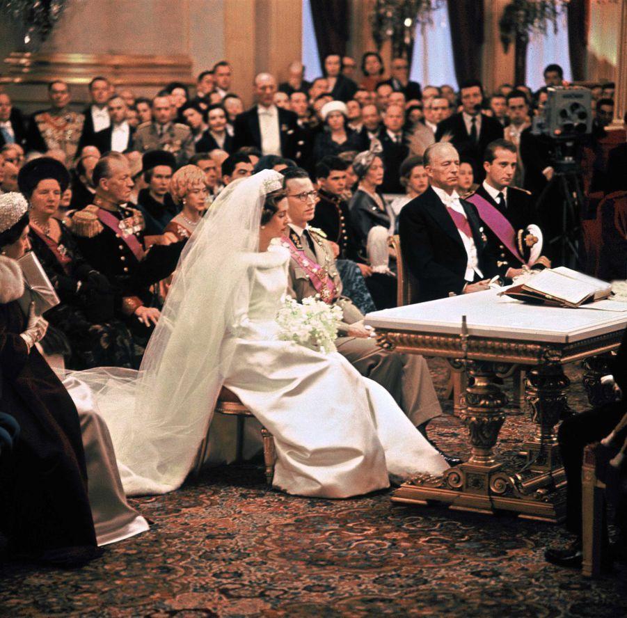 Le mariage civil du roi des Belges Baudouin et de Fabiola de Mora y Aragon, à Bruxelles 15 décembre 1960