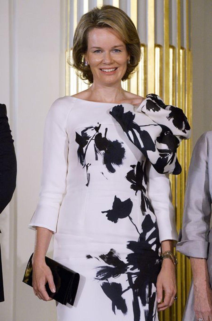 La reine Mathilde de Belgique à Bruxelles, le 8 octobre 2015