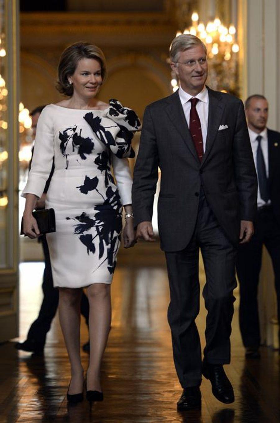 La reine Mathilde et le roi Philippe de Belgique à Bruxelles, le 8 octobre 2015