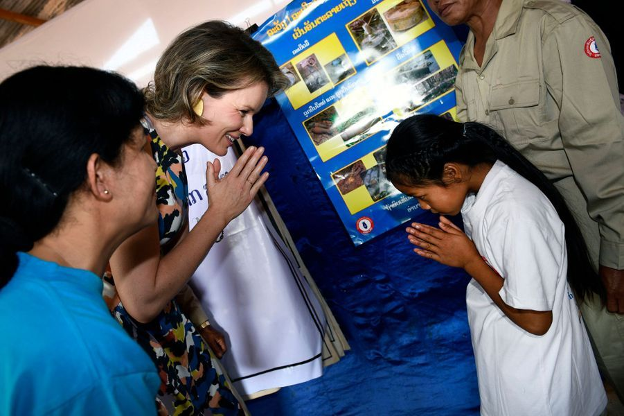 La reine Mathilde de Belgique au Laos, le 23 février 2017