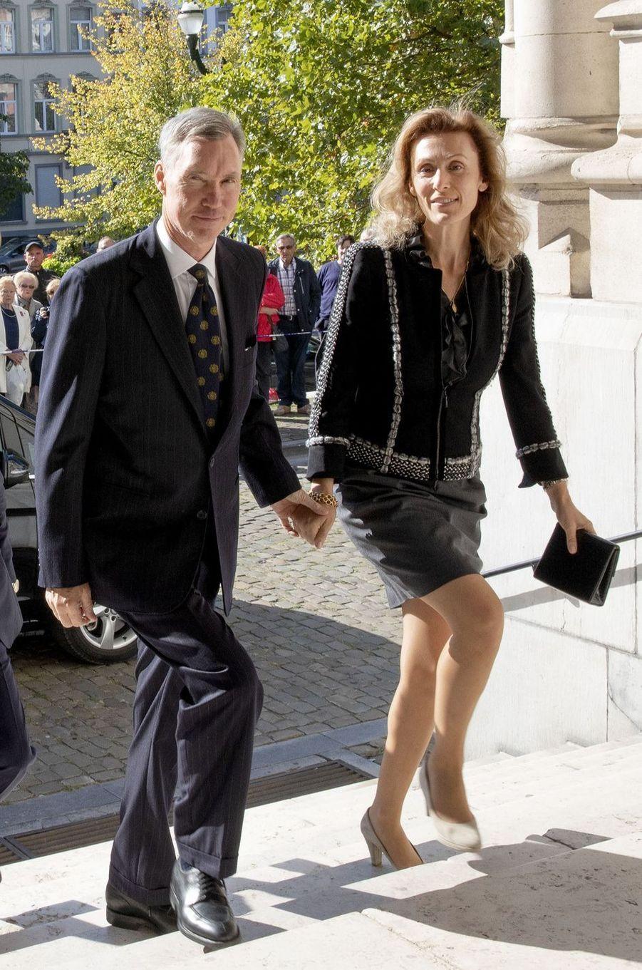 Le prince Guillaume de Luxembourg et sa femme la princesse Sibilla à Laeken, le 8 septembre 2018