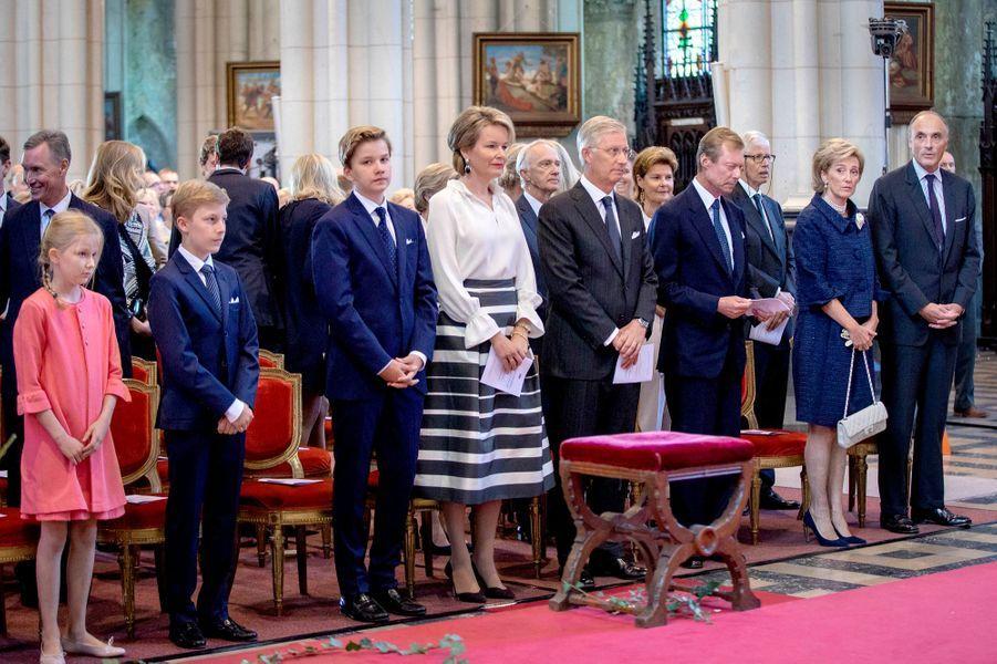 La famille royale de Belgique et des membres de la famille grand-ducale du Luxembourg à Laeken, le 8 septembre 2018