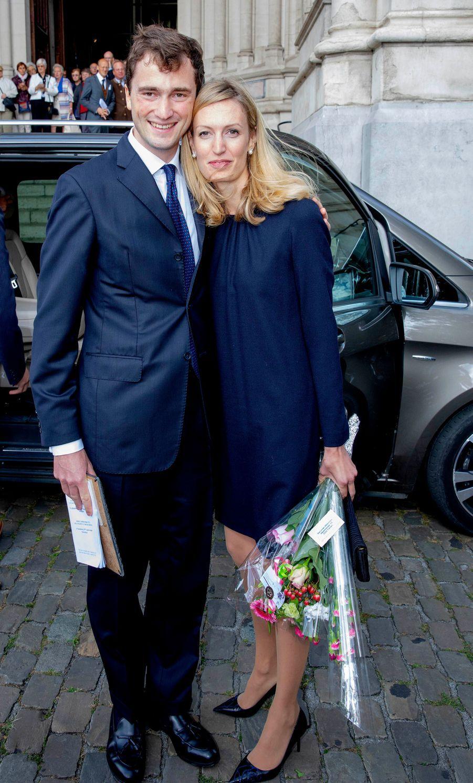 Le prince Amedeo de Belgique et sa femme la princesse Elisabetta à Laeken, le 8 septembre 2018