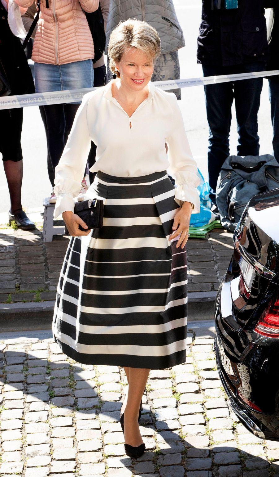 La reine Mathilde de Belgique à Laeken, le 8 septembre 2018