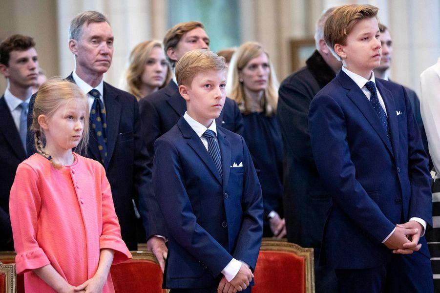 La princesse Eléonore et les princes Emmanuel et Gabriel de Belgique à Laeken, le 8 septembre 2018