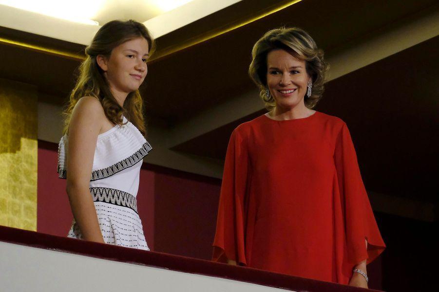 La princesse Elisabeth de Belgique et la reine des Belges Mathilde au Bozar à Bruxelles, le 3 juin 2017