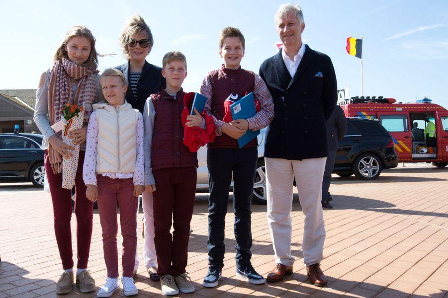 La famille royale belge sur la plage de Middelkerke, le 1er juillet 2017