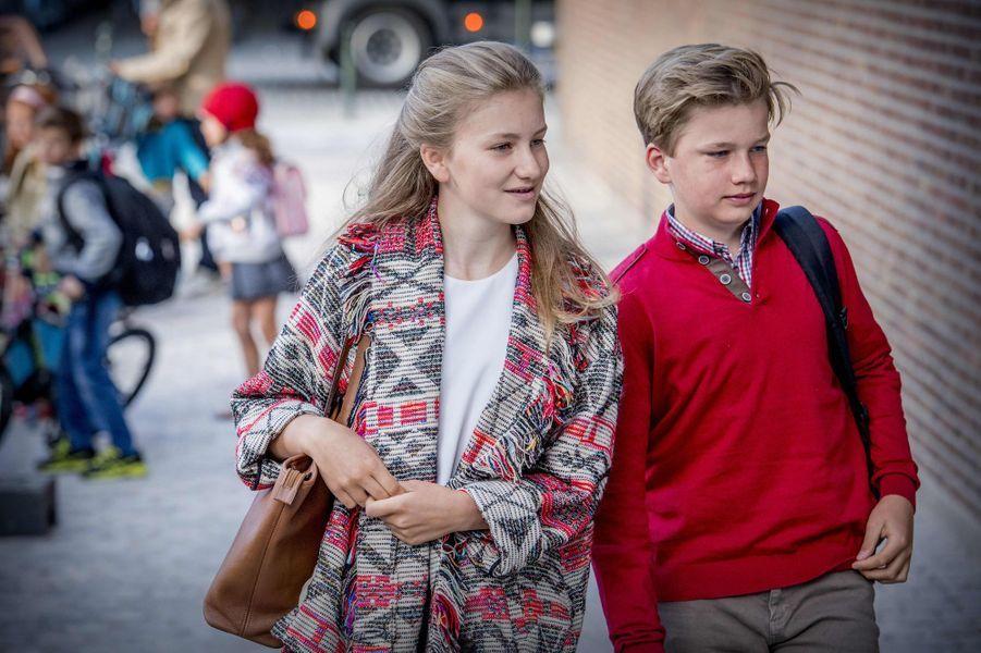 La princesse Elisabeth et le prince Gabriel de Belgique à Bruxelles, le 1er septembre 2017