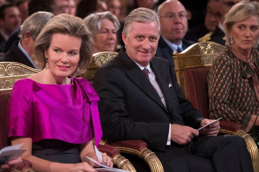La reine Mathilde et le roi Philippe de Belgique au concert d'automne à Bruxelles, le 19 octobre 2016