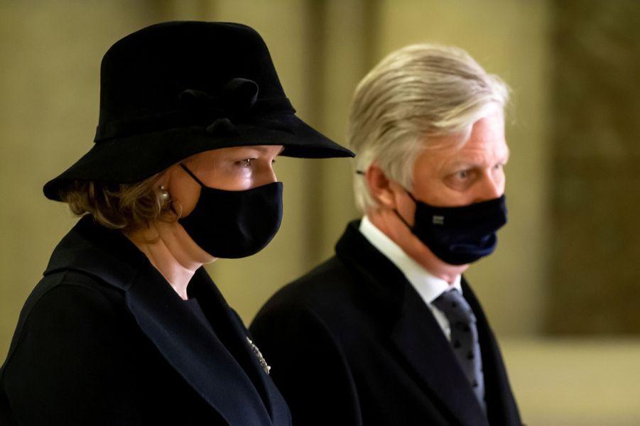 La reine Mathilde et le roi des Belges Philippe à Laeken, le 17 février 2021