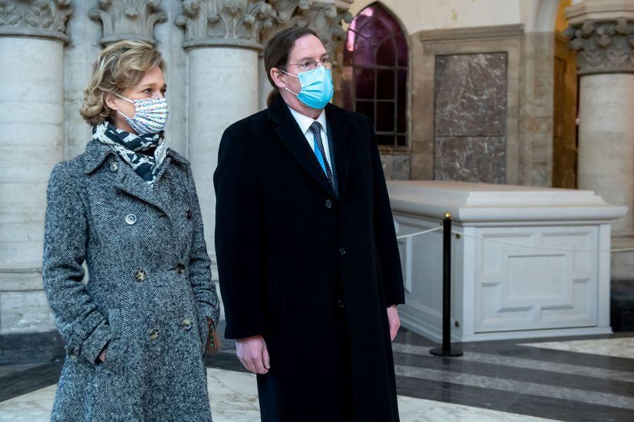 La princesse Delphine de Saxe-Cobourg et son mari Jim O'Hare, à Laeken le 17 février 2021