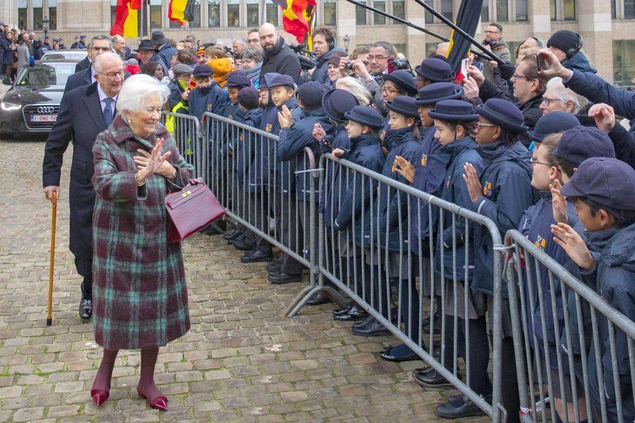 L'ex-reine Paola et l'ex-roi des Belges Albert II à Bruxelles, le 15 novembre 2019