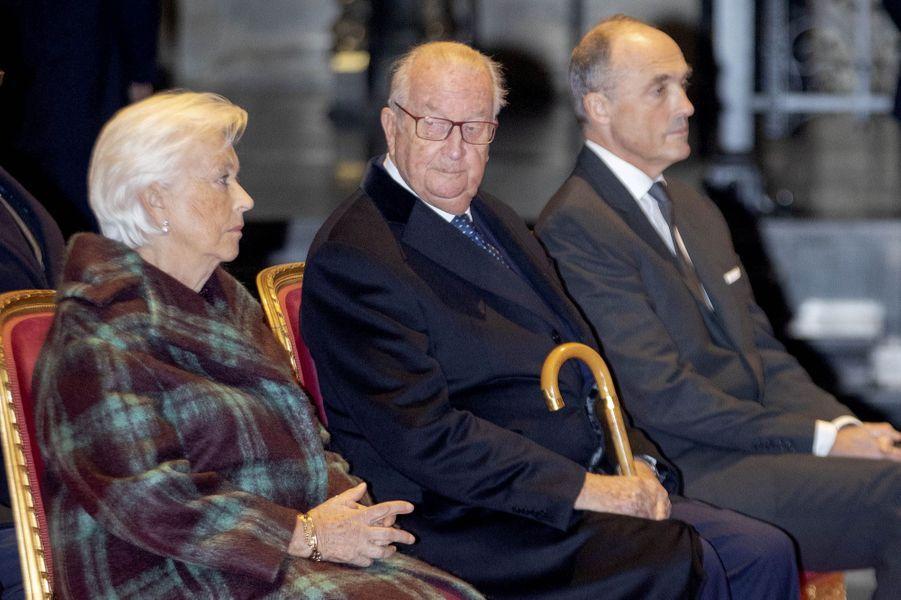 L'ex-reine Paola, l'ex-roi des Belges Albert II et leur gendre le prince Lorenz à Bruxelles, le 15 novembre 2019