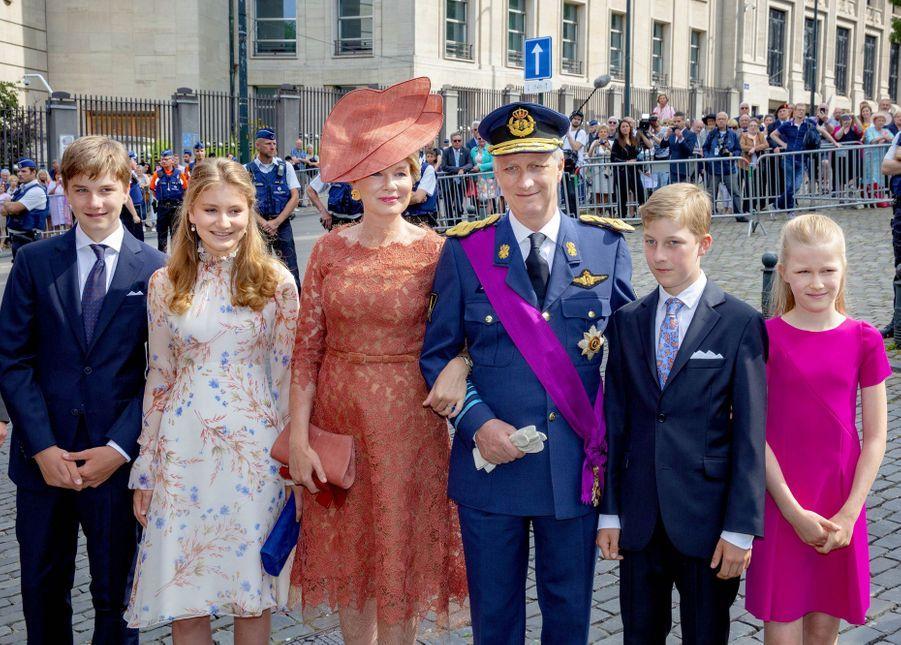 La famille royale belge se rend au traditionnel Te Deum à la Cathédrale Saints-Michel-et-Gudule de Bruxelles, pour la fête nationale, le 21 juillet 2019
