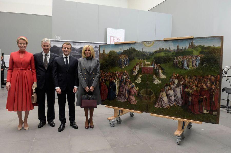 La reine Mathilde et le roi des Belges Philippe avec Emmanuel et Brigitte Macron, à Gant le 19 novembre 2018