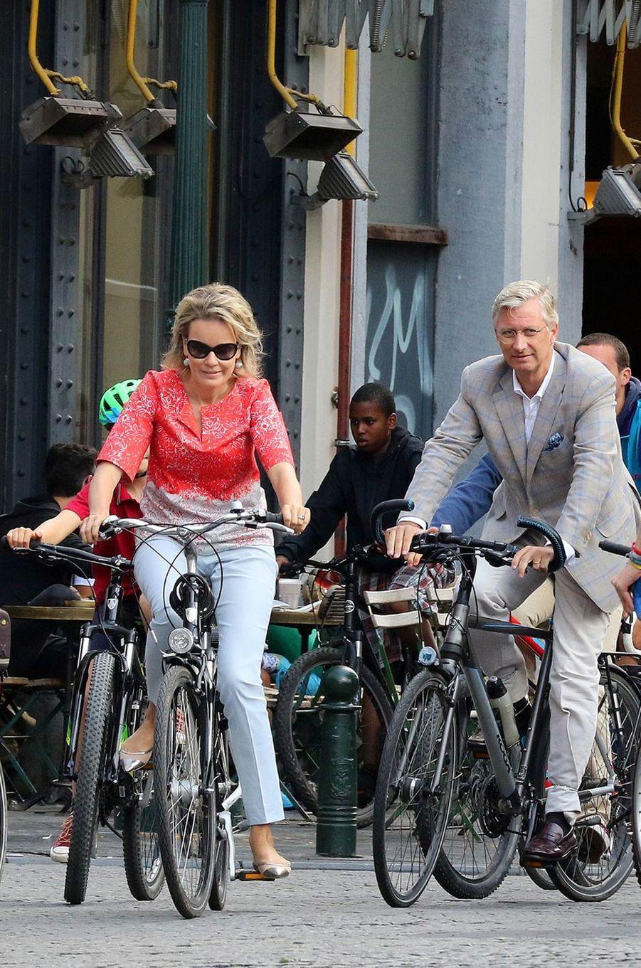 La reine Mathilde et le roi Philippe de Belgique à Bruxelles, le 18 septembre 2016