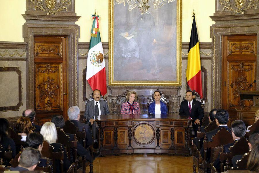 La princesse Astrid de Belgique avec la chef du gouvernement de Mexico Claudia Sheinbaun, à Mexico le 20 février 2019