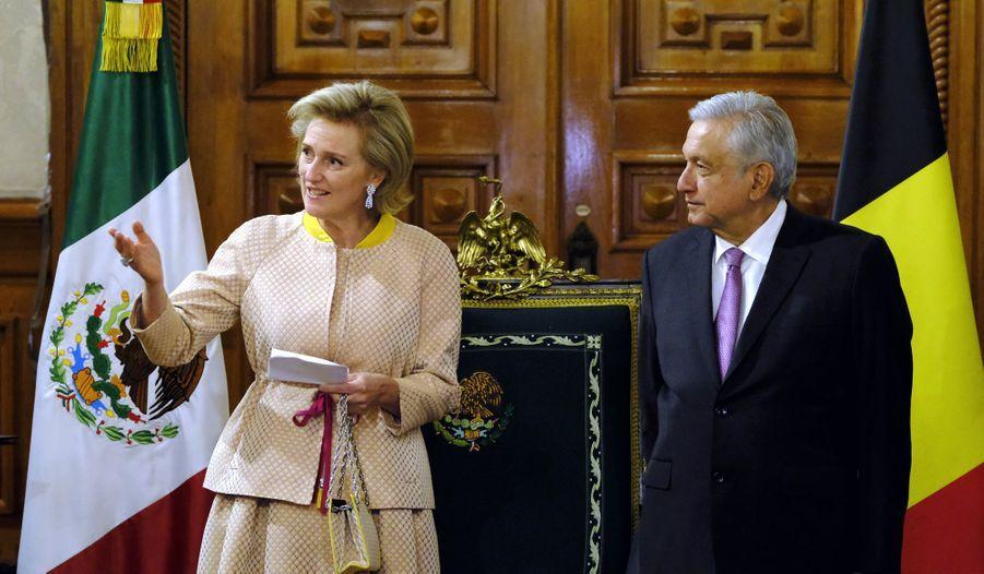 La princesse Astrid de Belgique avec le président mexicain Andrés Manuel López Obrador à Mexico, le 18 février 2019