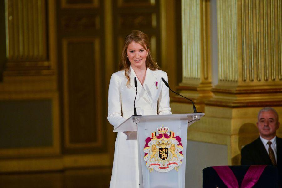 La princesse Elisabeth de Belgique lors de la cérémonie de ses 18 ans, le 25 octobre 2019