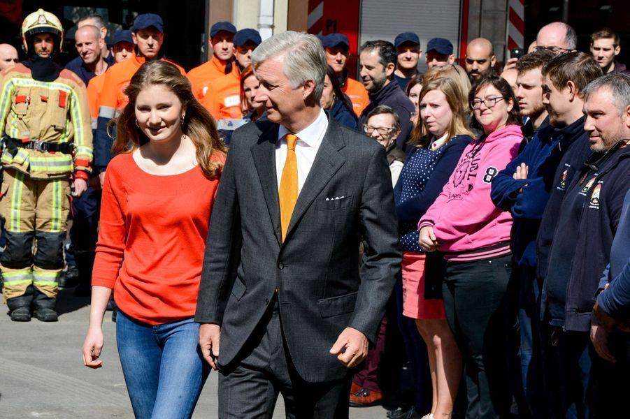 La princesse héritière Elisabeth de Belgique et le roi des Belges Philippe à Bruxelles, le 26 avril 2019