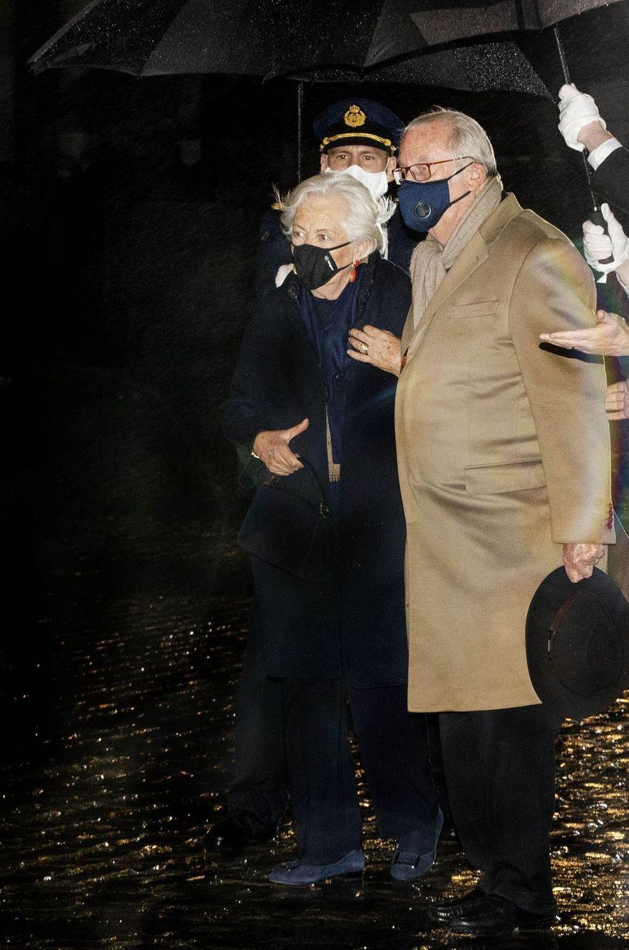 L'ex-reine Paola et l'ex-roi des Belges Albert II à Bruxelles, le 8 octobre 2020