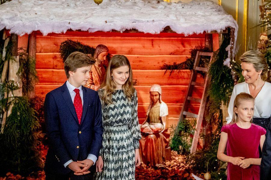 Les princesses Elisabeth et Eléonore, le prince Gabriel et la reine Mathilde de Belgique à Bruxelles, le 19 décembre 2018