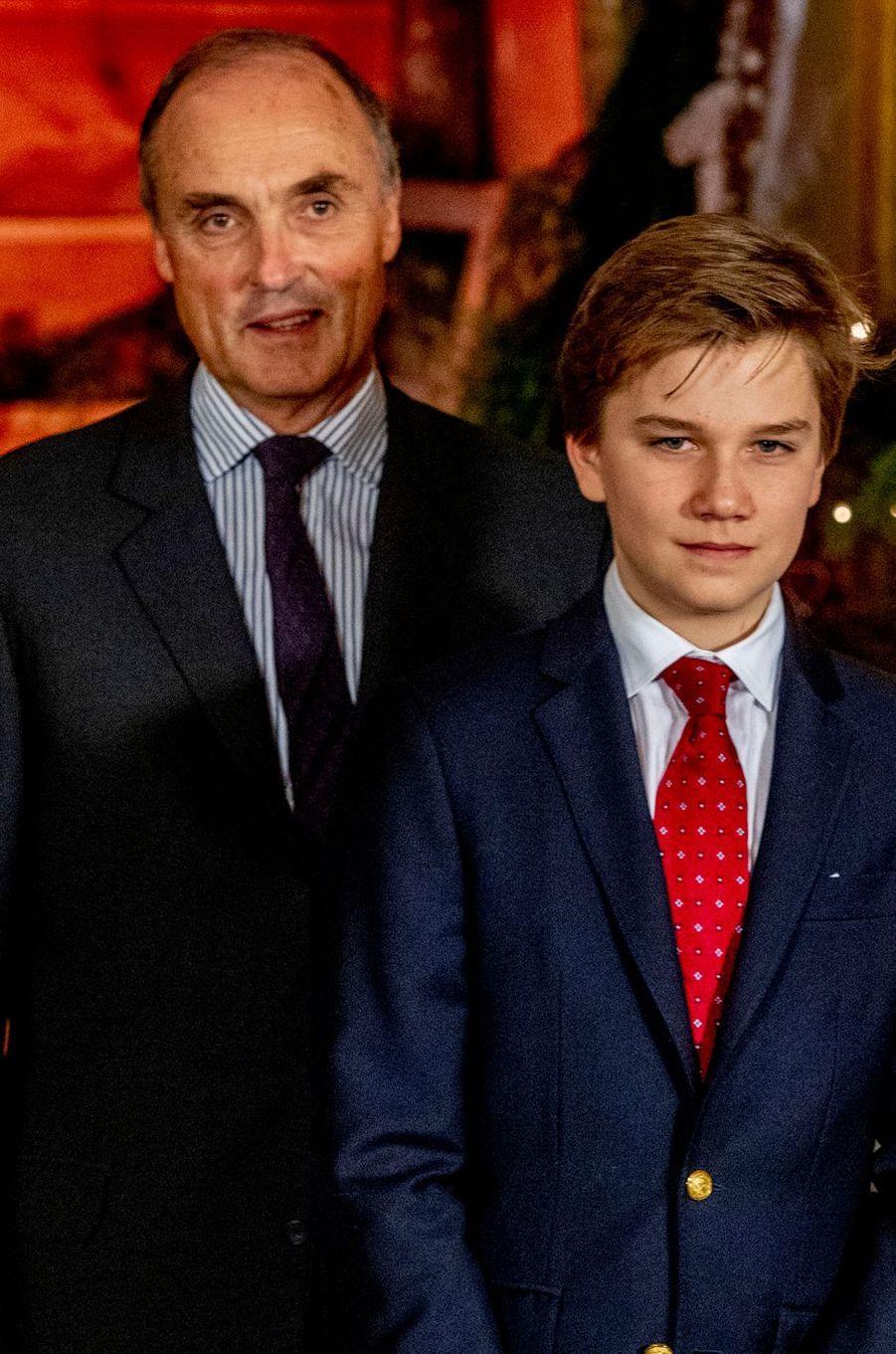 Le prince Gabriel de Belgique et son oncle le prince Lorenz à Bruxelles, le 19 décembre 2018