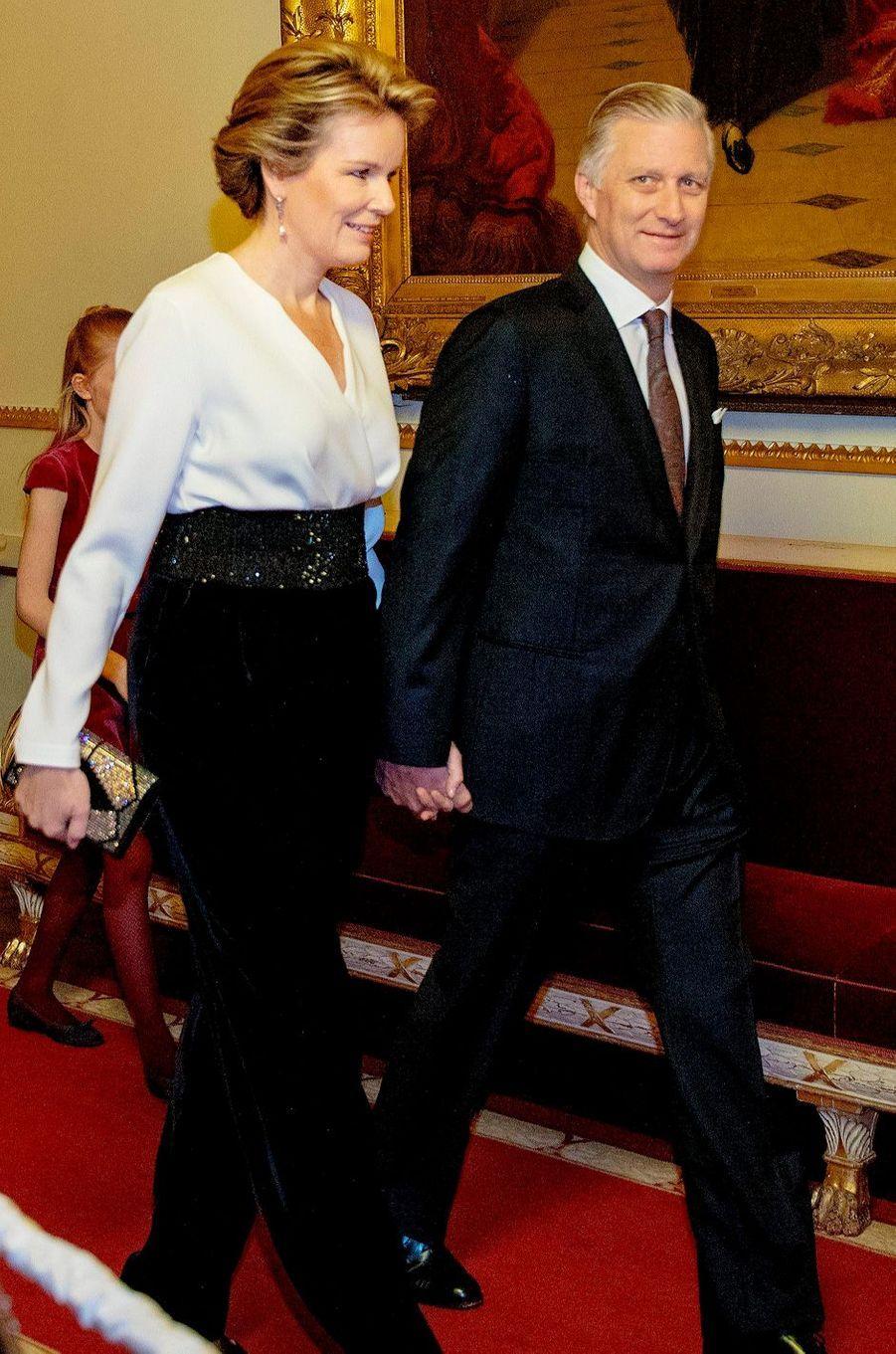 La reine Mathilde et le roi des Belges Philippe à Bruxelles, le 19 décembre 2018