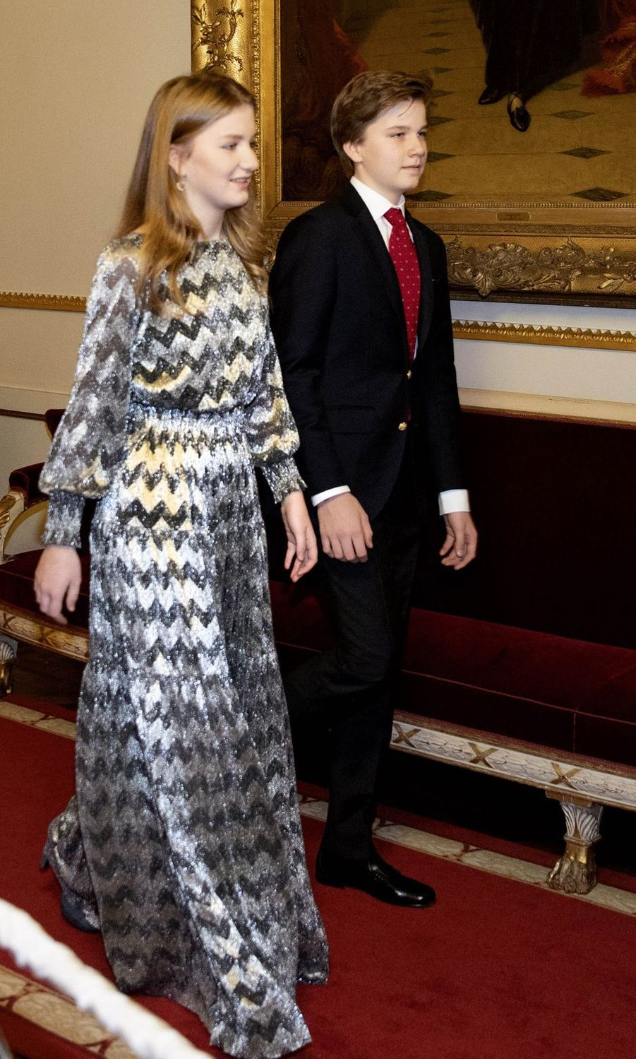 La princesse Elisabeth et le prince Gabriel de Belgique à Bruxelles, le 19 décembre 2018